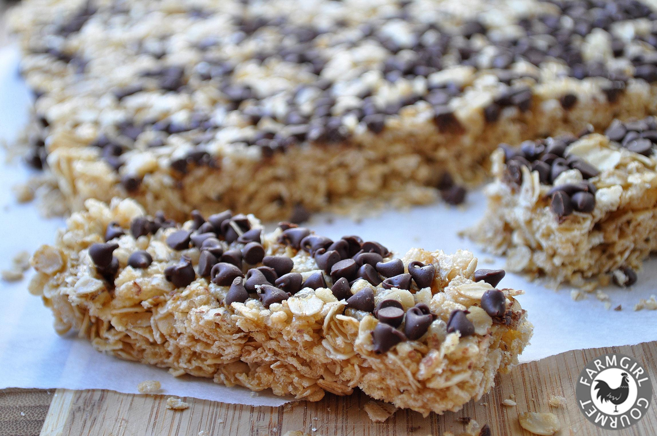 Chewy Chocolate Chip Granola Bars | Farmgirl Gourmet